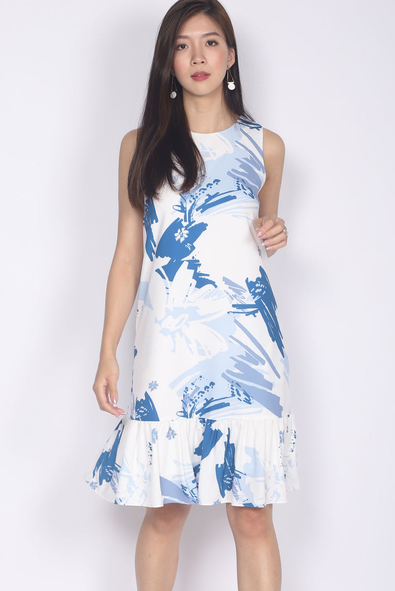Addy Brush Floral Drop Waist Dress In White