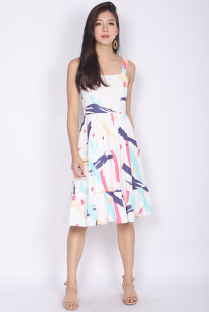 Addysen Colourful Brush Spag Dress In Pink