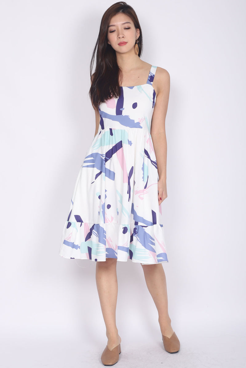 Addysen Colourful Brush Spag Dress In Purple