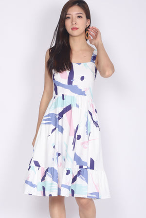 *Restocked* Addysen Colourful Brush Spag Dress In Purple