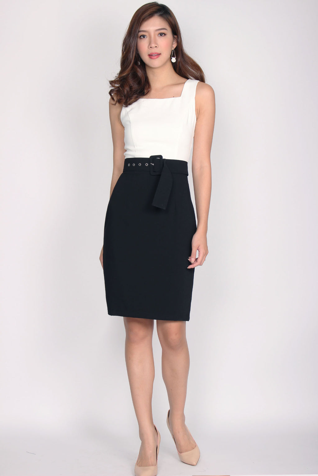 *RESTOCK* Adecyn Belted Work Dress In Black