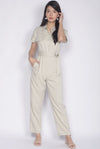 Adelise Utility Jumpsuit In Khaki