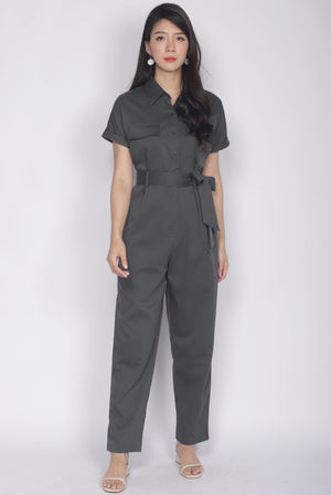 Adelise Utility Jumpsuit In Olive