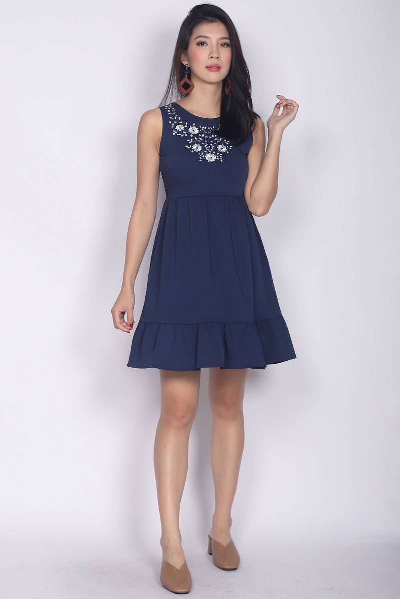 Aderes Embro Drop Waist Dress In Navy Blue