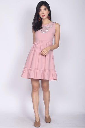 Aderes Embro Drop Waist Dress In Pink