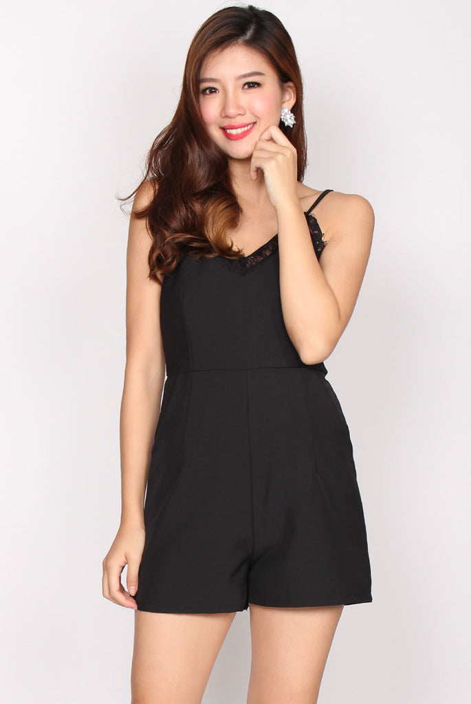Adira Lace Trim Romper In Black