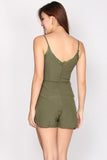 Adira Lace Trim Romper In Olive