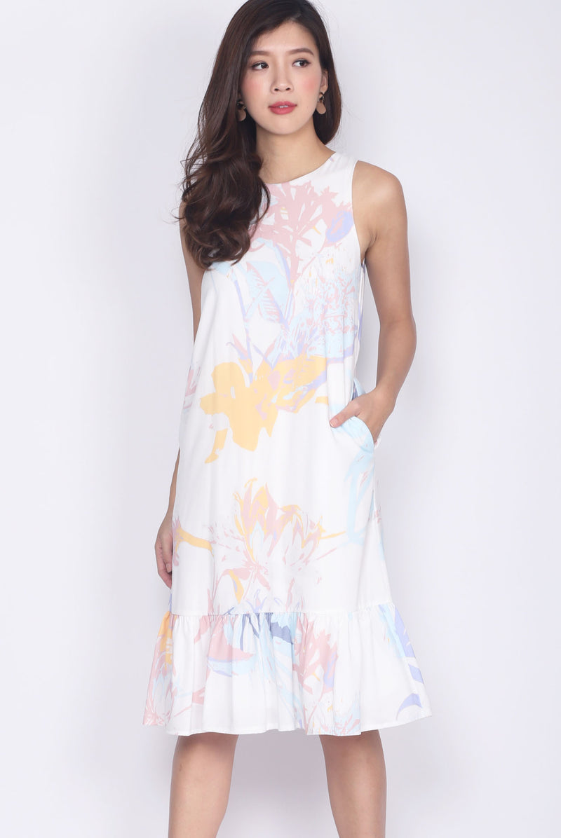 Adiva Pastel Paint Drop Hem Dress