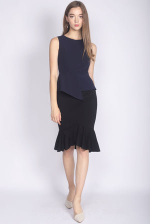 *Premium* Adley Peplum Top In Navy Blue