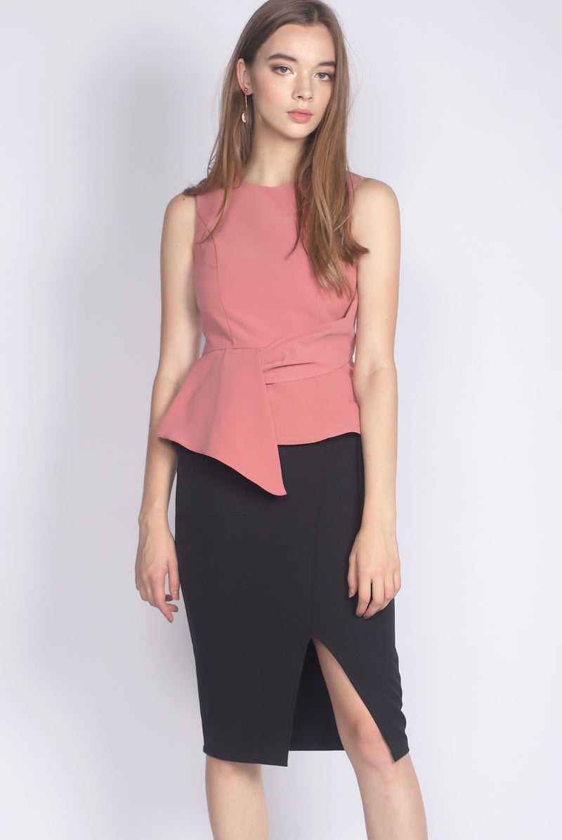 *Premium* Adley Peplum Top In Tea Rose