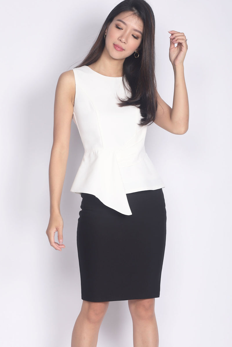 *Premium* Adley Peplum Top In White