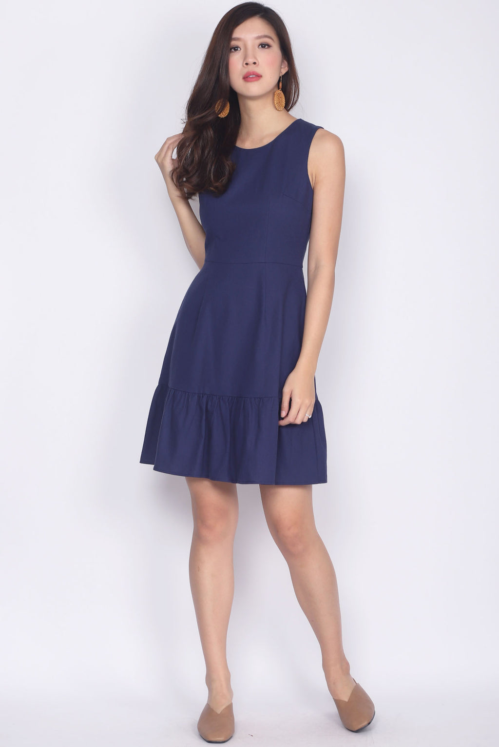 Adolpha Drop Waist Linen Dress In Navy Blue