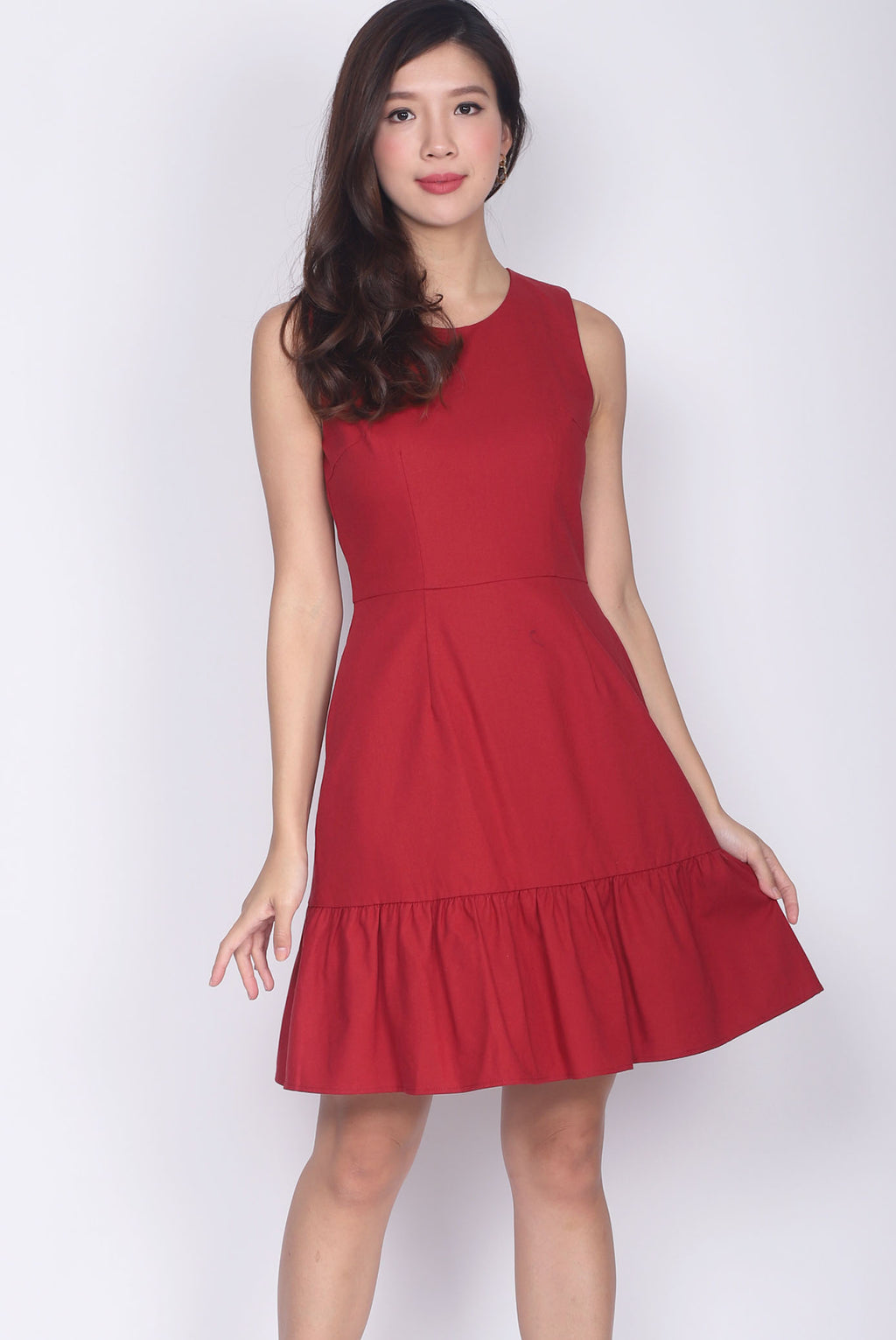 Adolpha Drop Waist Linen Dress In Wine Red