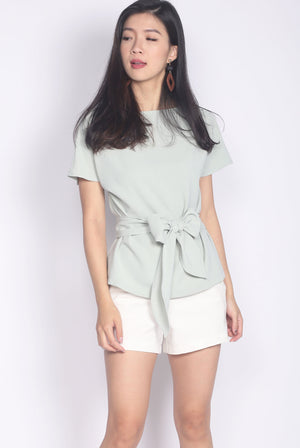 *Backorder* Adora Tie Sash Top In Jade