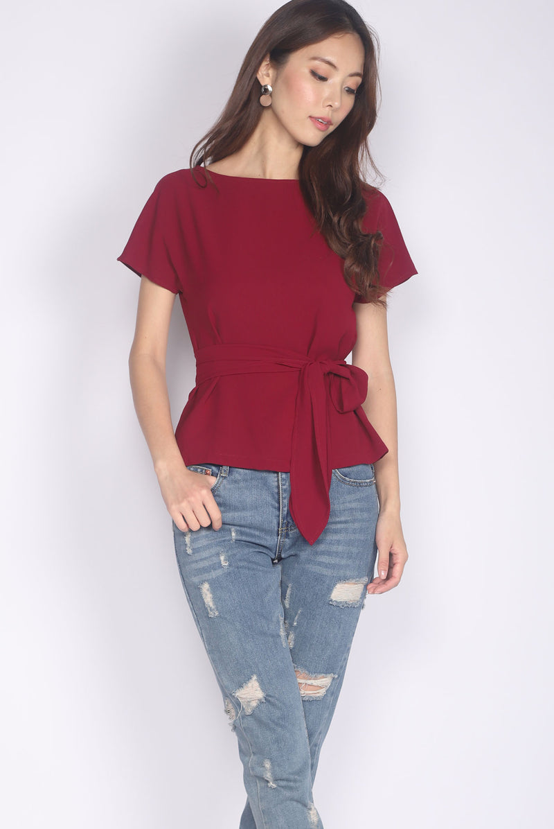 Adora Tie Sash Top In Wine Red