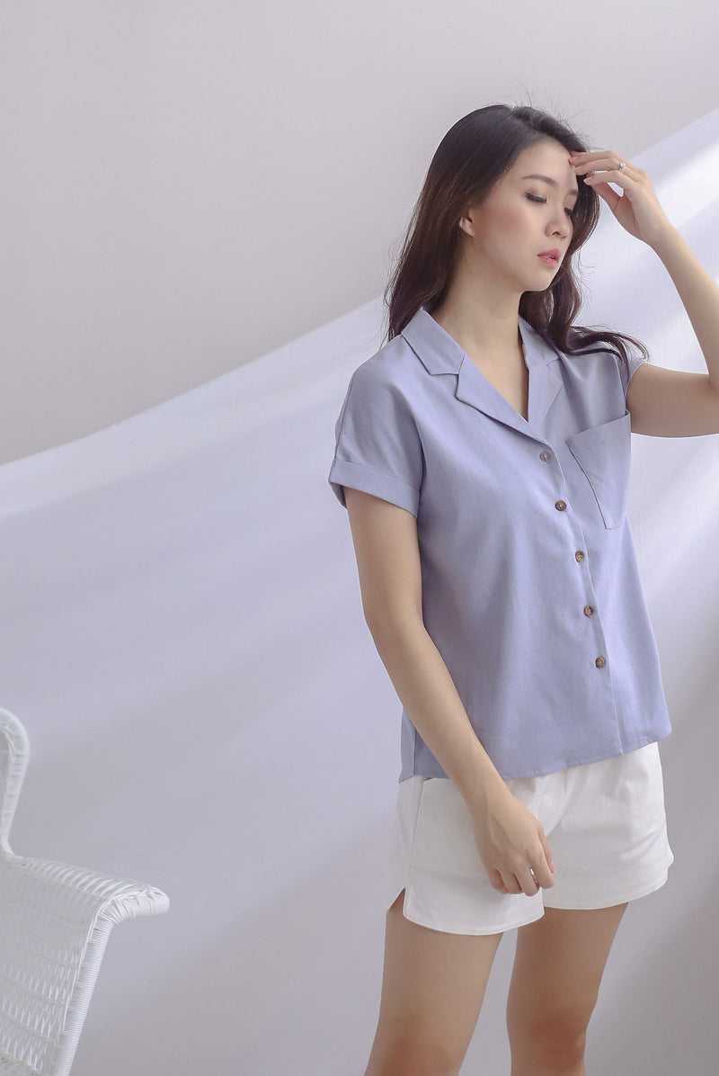 Aella Linen Relax Shirt In Periwinkle