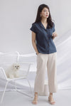 Aella Linen Relax Shirt In Navy Teal