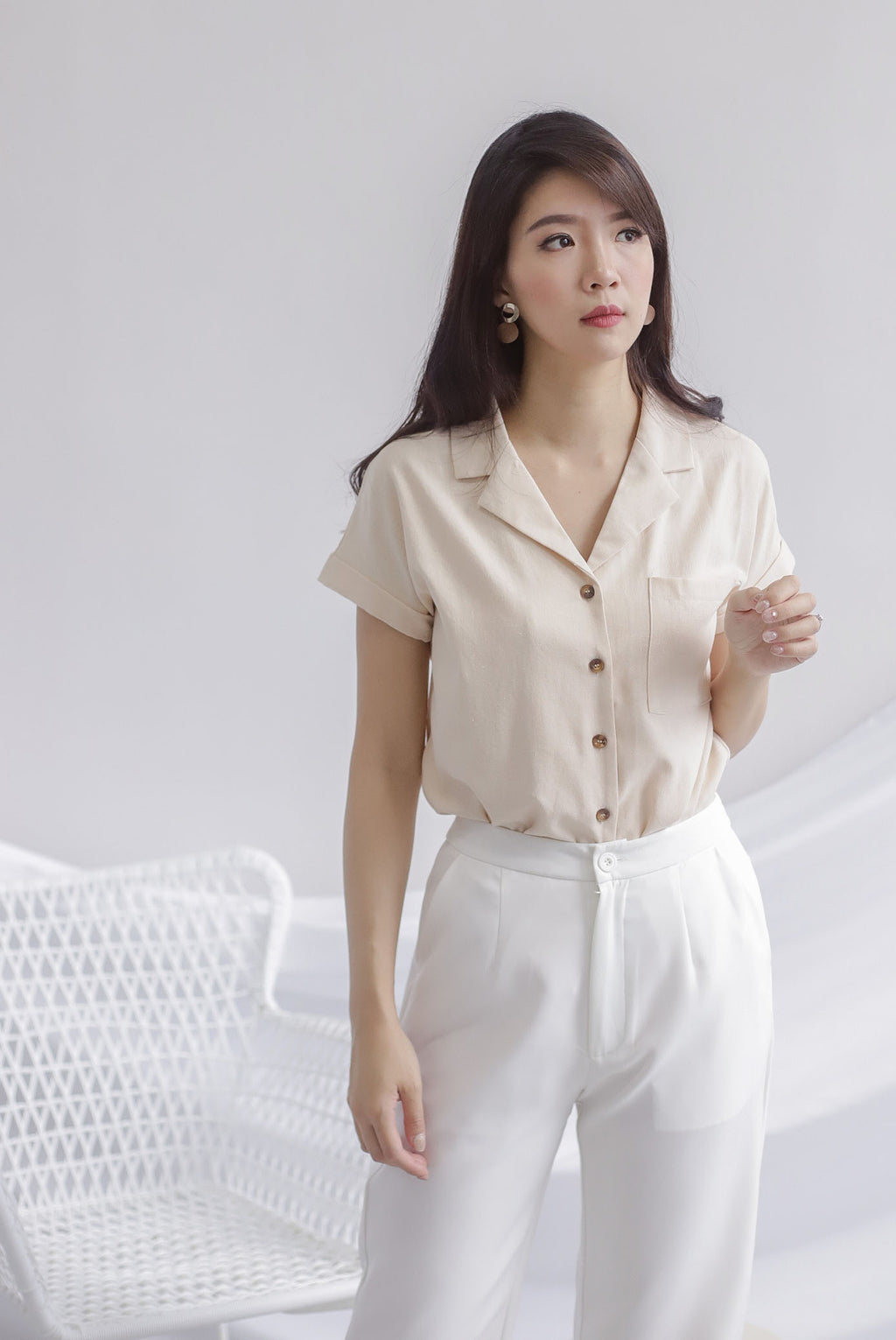 Aella Linen Relax Shirt In Oats