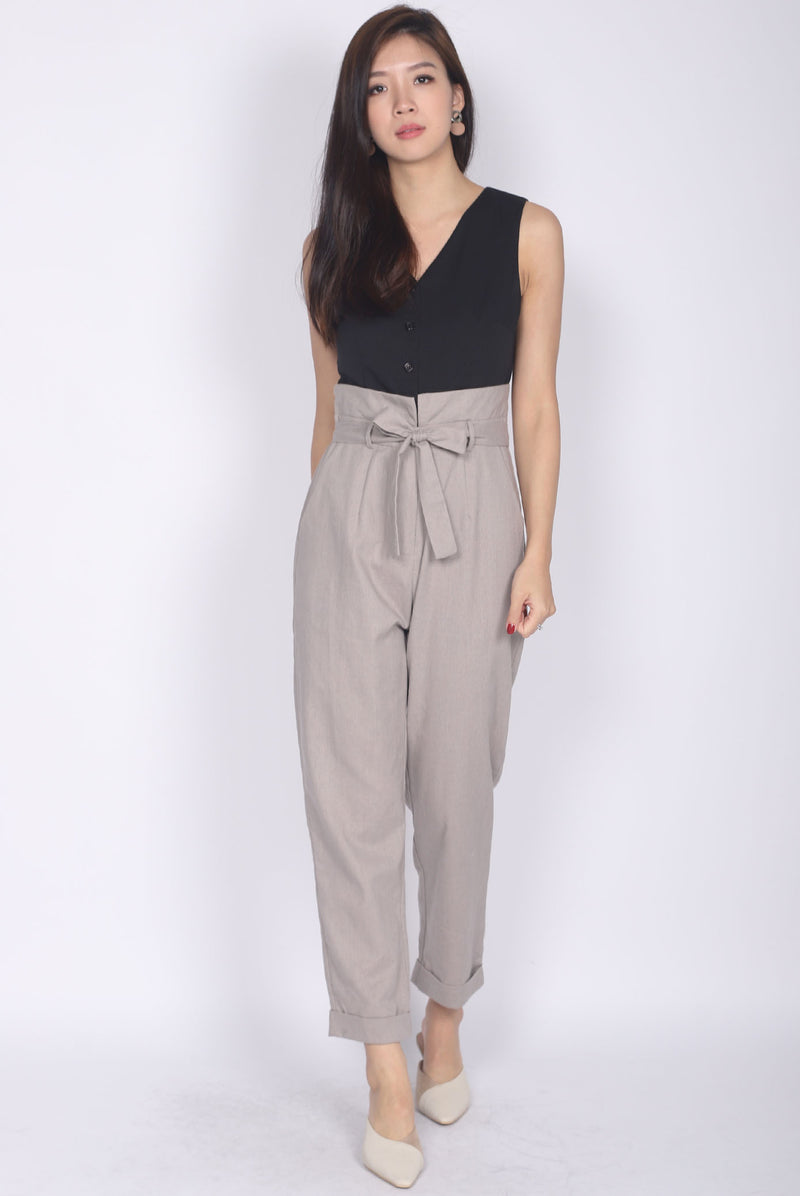 Aideen Zip Front Jumpsuit In Black