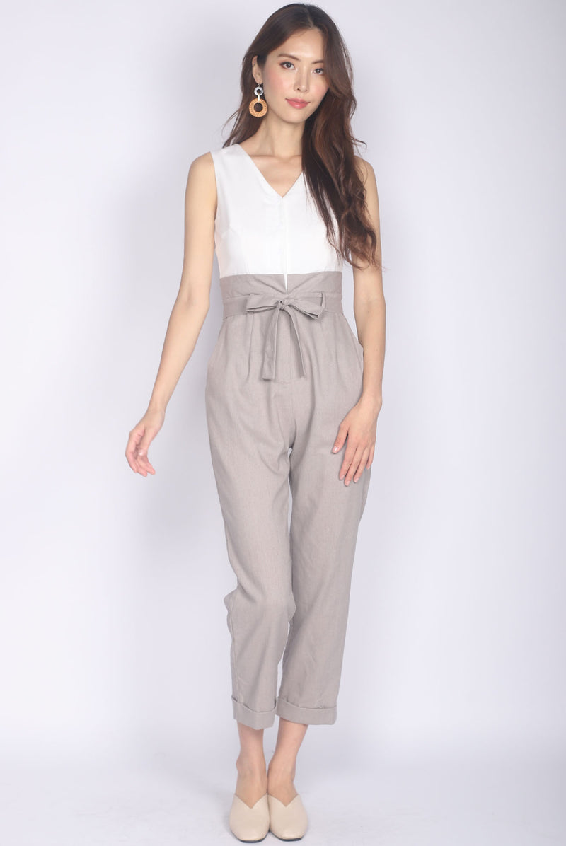 Aideen Zip Front Jumpsuit In White