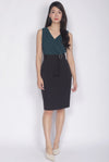 Aiden Belted Colour Block Work Dress In Forest Green