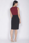 Aiden Belted Colour Block Work Dress In Wine Red