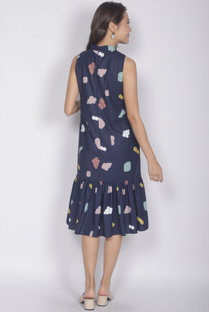 Ailey Cloud Removable Oriental Collar Dress In Navy Blue
