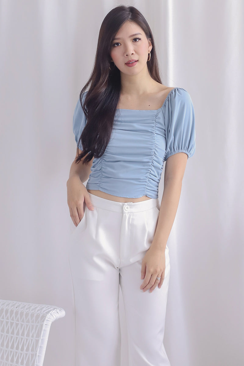 Ailsa Ruched Puffy Sleeve Top In Powder Blue