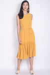 Aitana Belted Drop Waist Dress In Mustard