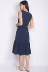 Aitana Belted Drop Waist Dress In Navy Blue