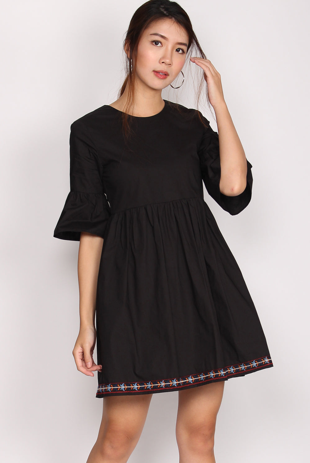 Alayna Embriodery Bell Sleeve Dress In Black