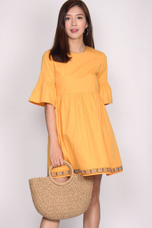 Alayna Embriodery Bell Sleeve Dress In Marigold