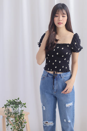 Alba Puffy Sleeve Top In Black