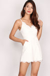 Alcee Lace Spag Romper In White