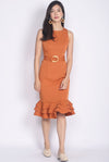 *Premium* TDC Alchemy Wooden Ring Sash Memaid Dress In Apricot
