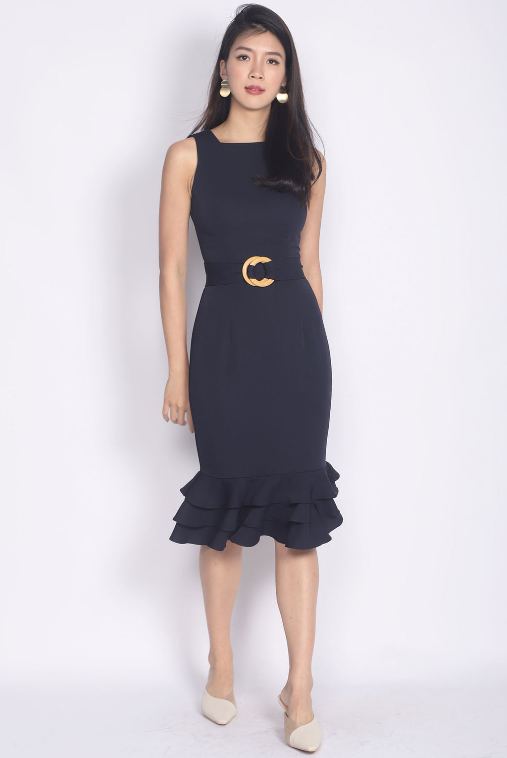 *Premium* TDC Alchemy Wooden Ring Sash Memaid Dress In Navy Blue