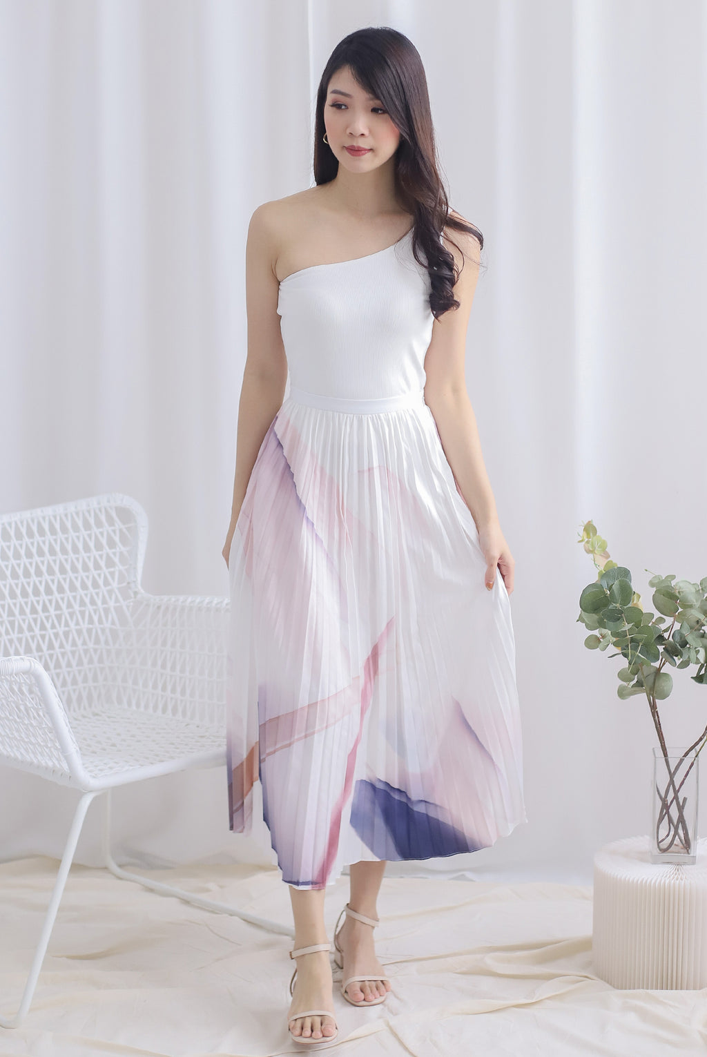 Alia Printed Pleated Skirt