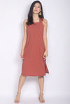 Alison Texture Crossback Midi Dress In Terracotta
