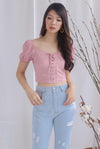 Ally Tie Up Puffy Sleeve Top In Pink
