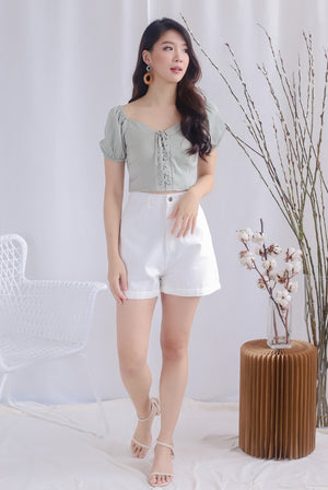 Ally Tie Up Puffy Sleeve Top In Sage