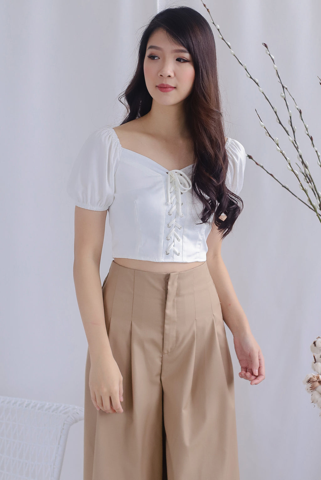 Ally Tie Up Puffy Sleeve Top In White