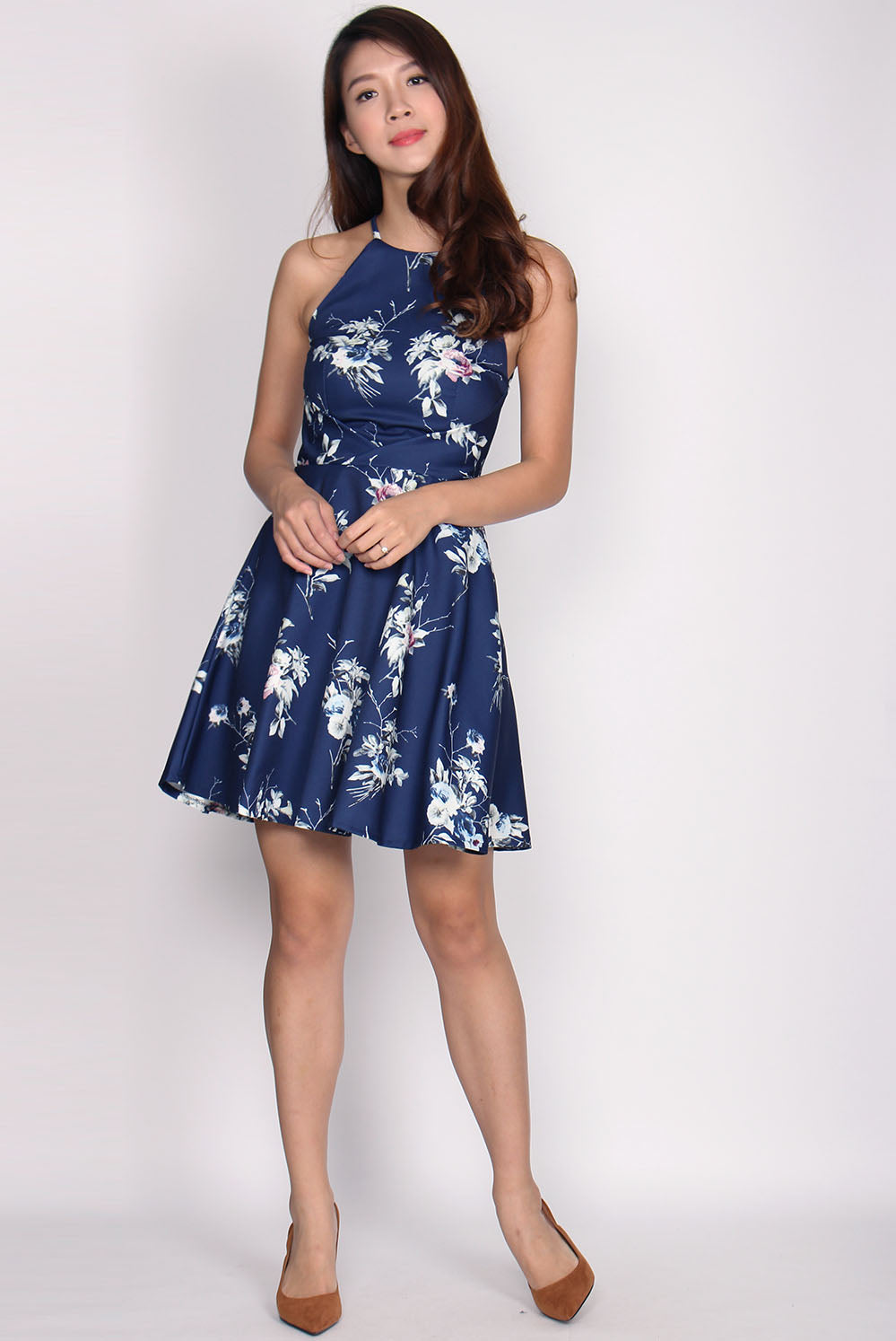 Allyson Origami Halter Dress In Navy Floral