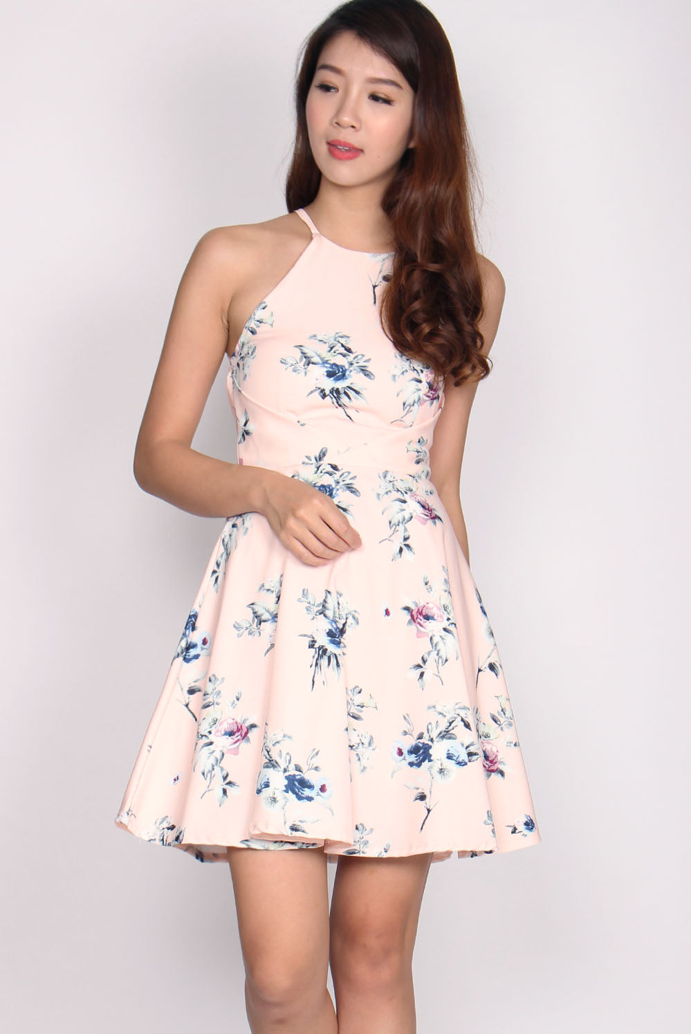 Allyson Origami Halter Dress In Pink Floral