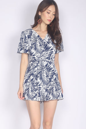 Alohi Tropical Flare Sleeve Romper In Navy Blue