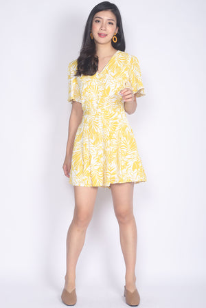 Alohi Tropical Flare Sleeve Romper In Yellow