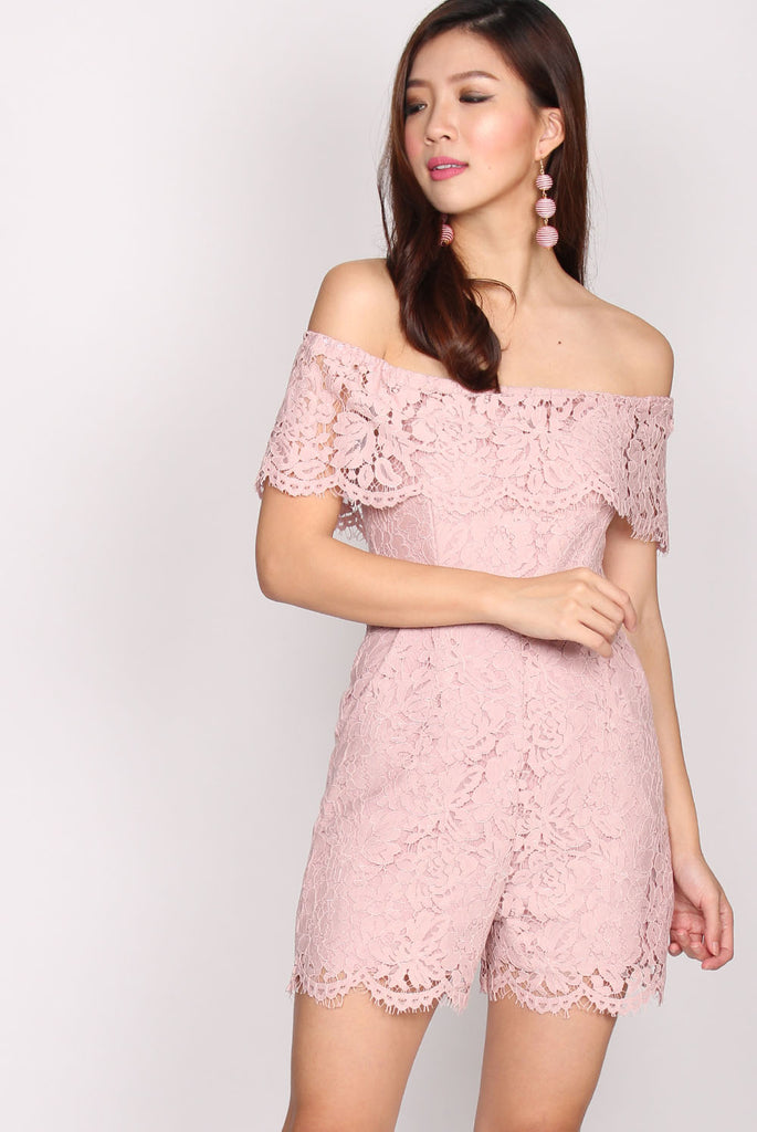 Piper Lace Off Shoulder Romper In Blush