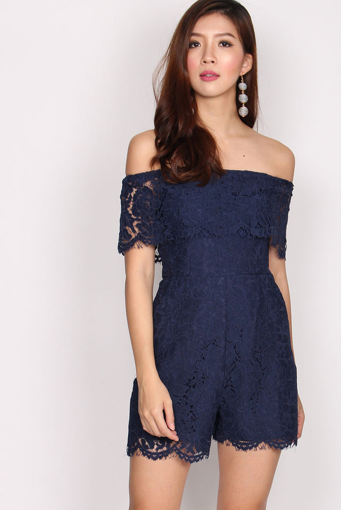 Piper Lace Off Shoulder Romper In Navy Blue