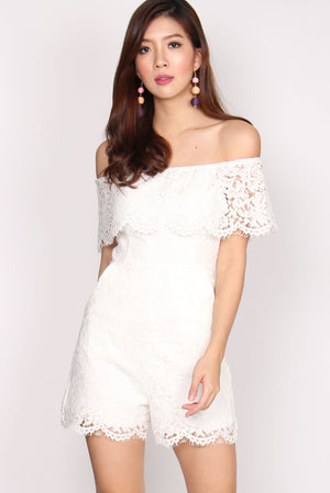 Piper Lace Off Shoulder Romper In White