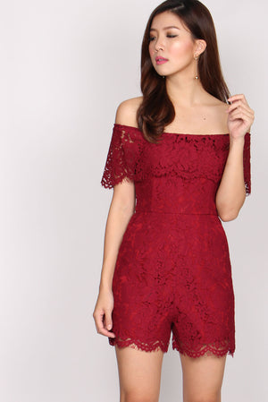 Piper Lace Off Shoulder Romper In Wine Red