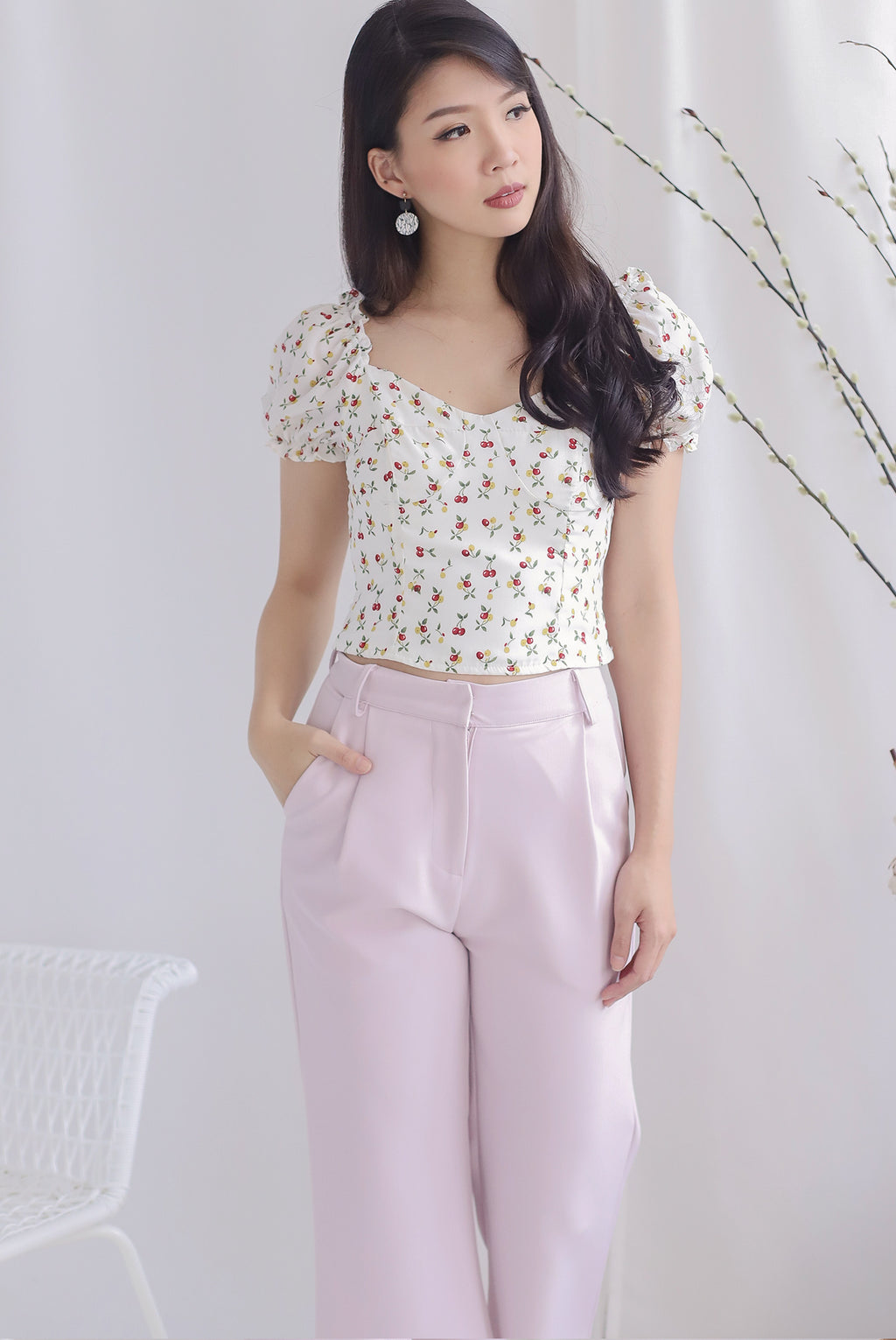 Amelle Cherries Puffy Sleeve Top In White